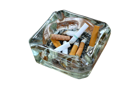 Ashtray cigarette butts isolated on white, with clipping path. 스톡 콘텐츠