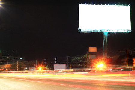 Blank billboard at night time for advertisement city street night light 스톡 콘텐츠
