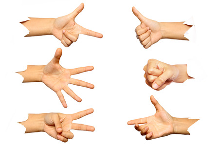 Hand gestures isolated on white background.