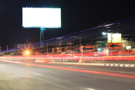 Blank billboard at night time for advertisement city street night light Stock fotó