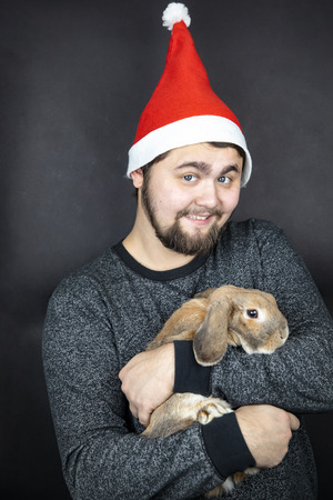 A man in a New Years cap smiles and is holding a rabbit. Home decorative rabbit breed sheep. Christmas photo.