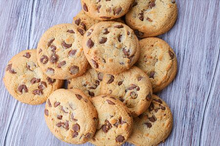 Cookies with chocolate closeup. Homemade cookies. A mountain of cookies.