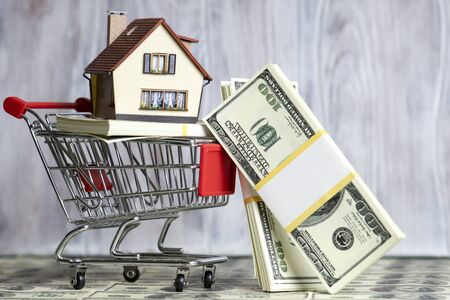 A small copy of the house lies in the shopping cart. A pack of hundred-dollar bills. Zdjęcie Seryjne - 128903110
