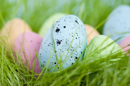 Colorful multi-colored Easter eggs lie on the green grass. Painted eggs on the lawn.