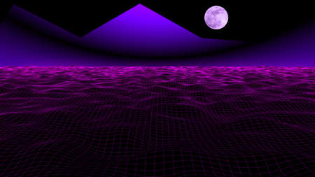 80s and 90s Retro Sci-Fi Background with Moonlight. 3D rendering futuristic synth retro wave illustration in 1980, 1990s posters style. 写真素材