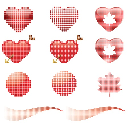 Pixel set  heart, arrow, wave Vector