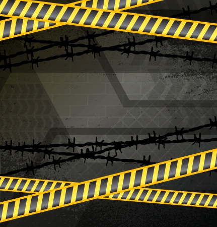 Police tape on dark grunge background