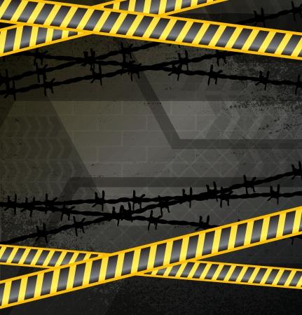 Police tape on dark grunge background
