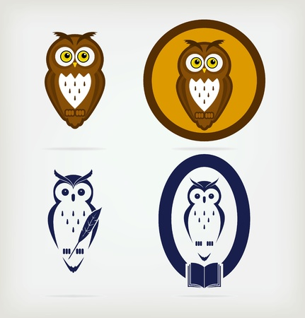 A set of five creative owls