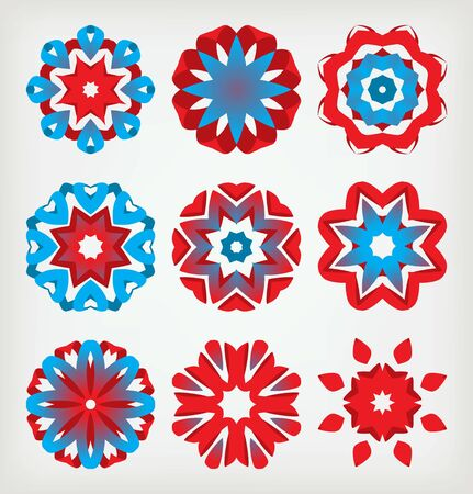 A set of nine red and blue colors Stock Vector - 15638529