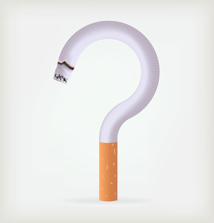 tobacco product: bent cigarette in the form of a question Illustration