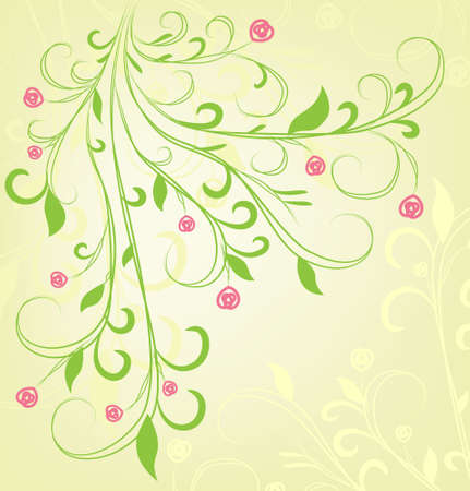 scroll shape: Abstract colorful background from plants Illustration