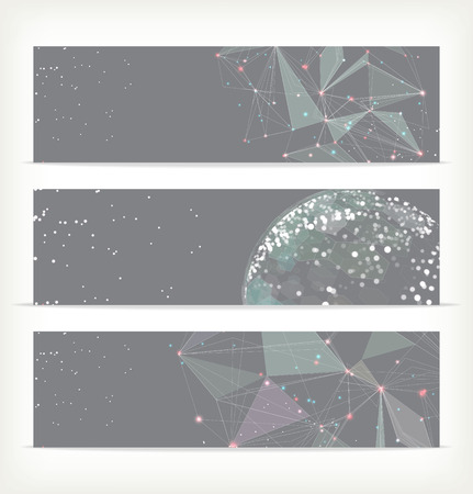 Abstract geometric triangular banners Vector