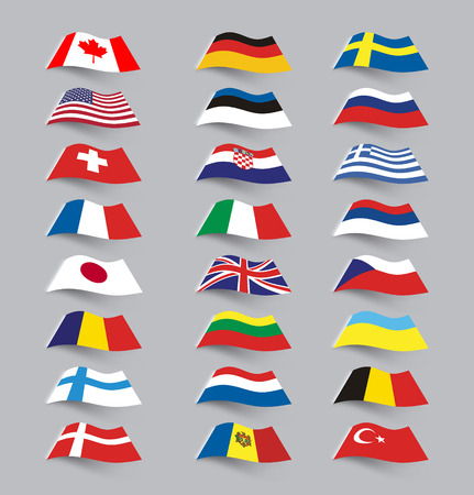 flag button: Set of flags Illustration