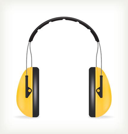 elementos de protecci�n personal: Auriculares para la protecci�n auditiva Vectores