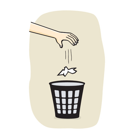 waste basket: Hands with garbage bin with paper