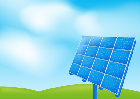 solar collector: Solar panel on a blue sky Illustration