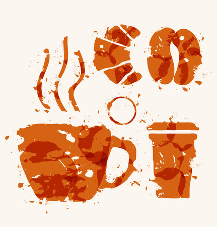 Coffee elements of watercolor stains. Vector
