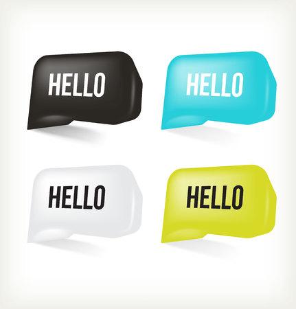 message box: 3D Message Hello. Vector Illustration