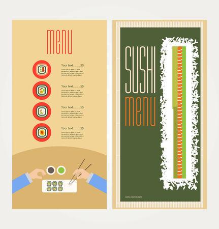 La imagen abstracta de un menú con sushi Ilustración de vector