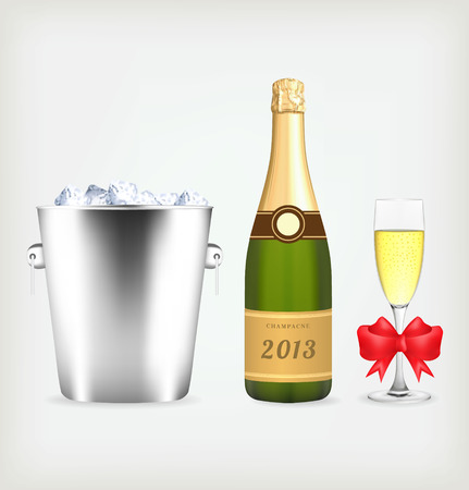 Champagne bottle in bucket with ice