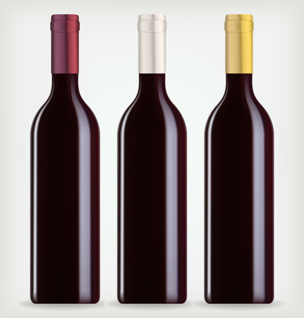 Three bottles of wine on a white background Vectores