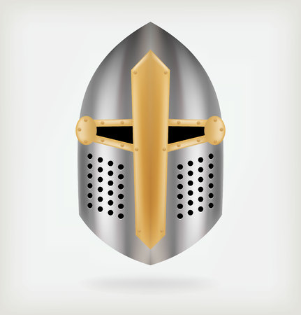 knight helmet: Iron helmet of the medieval knight.
