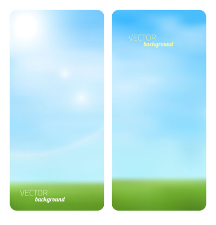 sunny sky: Banner spring grass in sun light Illustration