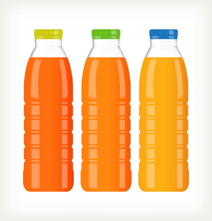 preparing: Bottles with juice isolated on white. Template design