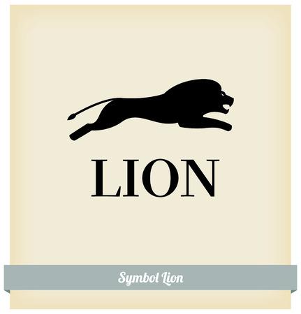 lion dessin: Le symbole d'un saut de lion. Vector. Template design