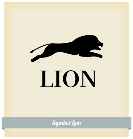 black and white image drawing: The symbol of a lion jump. Vector. Template design Illustration
