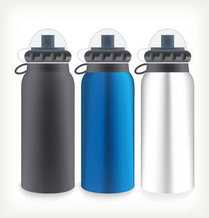 Three water bottles for outdoor activities. Template design Vector