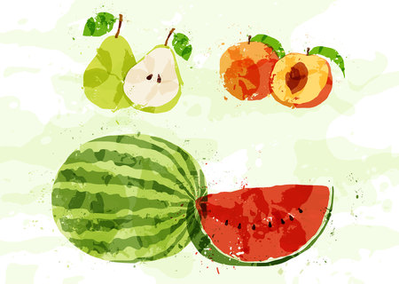 Set of colorful fresh fruit stains. Vector Vector