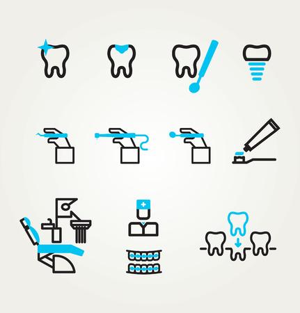 sillon dental: Iconos dentales reflexi�n tem�ticos. Vector. Dise�o de la plantilla Vectores