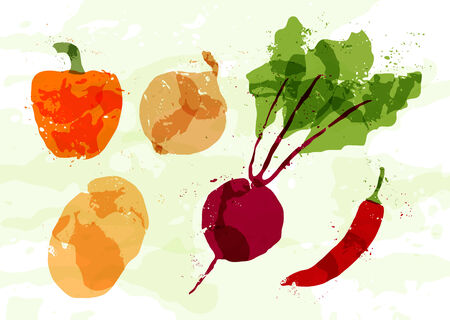 beets: Set of colorful fresh vegetables stains. Vector
