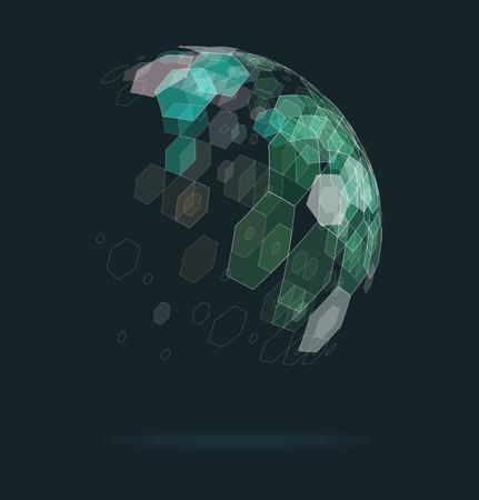 Abstract ball of geometric shapes Ilustração