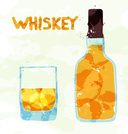 whiskey bottle: Glass of scotch whiskey