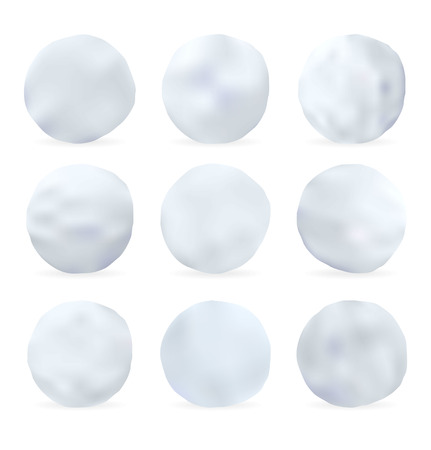 snowball: Set of snowballs isolated on white background