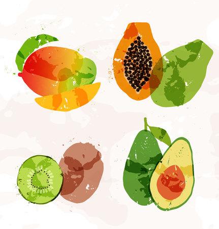 papaya: Set of colorful fresh fruit stains Illustration