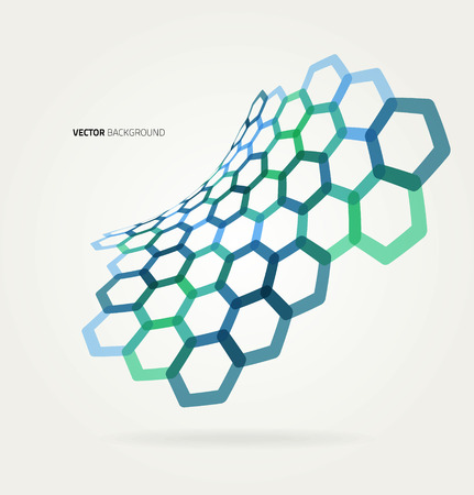 Abstract wave Vector hexagons template. Ilustração