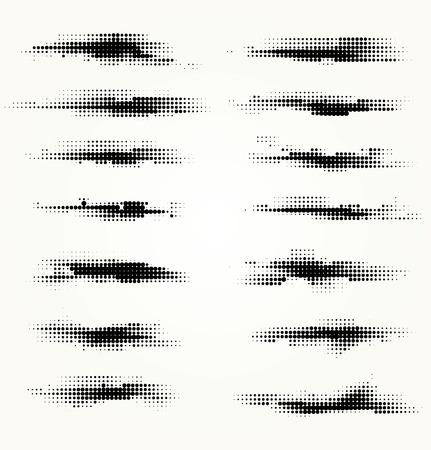 Set of horizontal spots halfton Ilustração