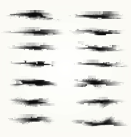 Set of horizontal spots halfton Illustration