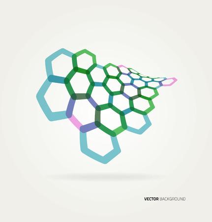 Abstract wave Vector hexagons template. Ilustração
