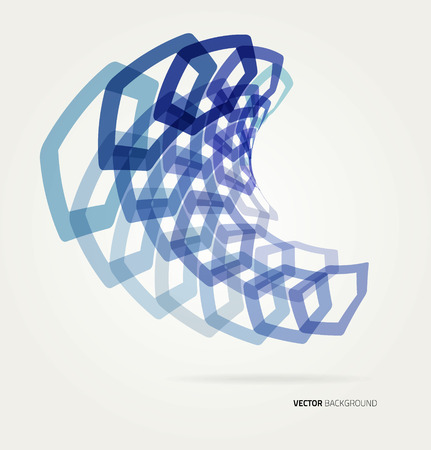 techincal: Abstract wave Vector hexagons template. Illustration