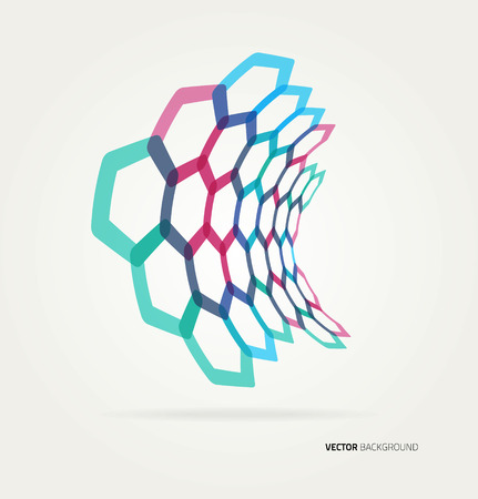 biology lab: Abstract wave Vector hexagons template. Illustration