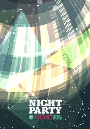 party design: Night party Vector Flyer Template. Template design
