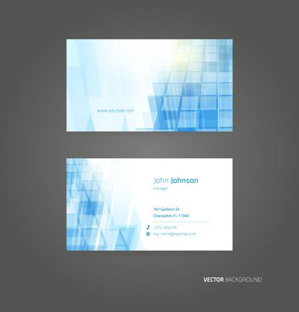 Business blue card vector background. Template design Vettoriali