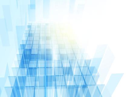 abstrato: Modern parede de vidro azul do pr�dio de escrit�rios. Vetor Ilustração