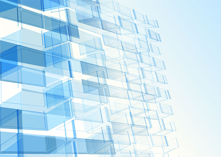 Modern blue glass wall of office building. Vector Banco de Imagens - 43905917