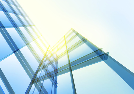Modern blue glass wall of office building. Vector Archivio Fotografico